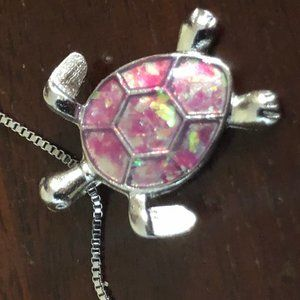 New Enamel Painted Sea Turtle Silver Necklace